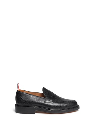 Main View - Click To Enlarge - THOM BROWNE - Pebble leather penny loafers