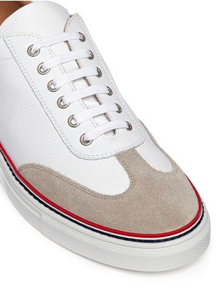 Detail View - Click To Enlarge - Thom Browne - Suede toe cap leather sneakers