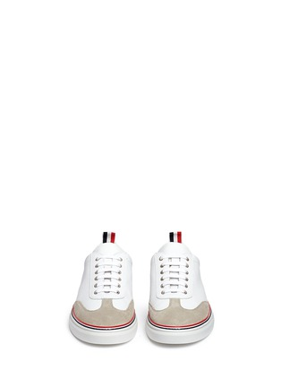 Front View - Click To Enlarge - Thom Browne - Suede toe cap leather sneakers