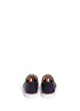 Back View - Click To Enlarge - Thom Browne - Suede toe leather sneakers