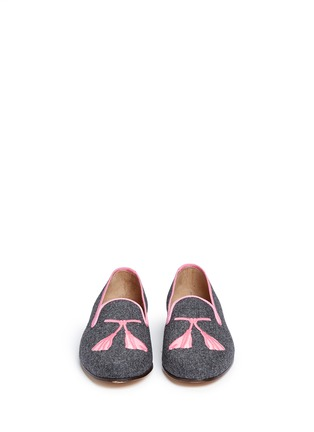 Front View - Click To Enlarge - Stubbs & Wootton - Tassel embroidery flannel slip-ons