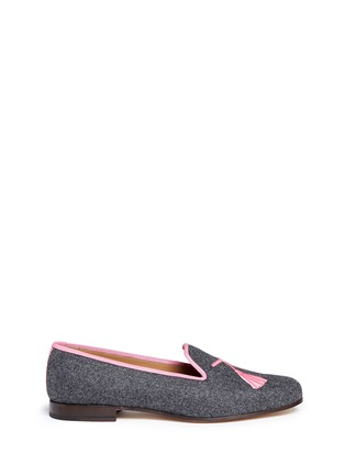 Main View - Click To Enlarge - Stubbs & Wootton - Tassel embroidery flannel slip-ons