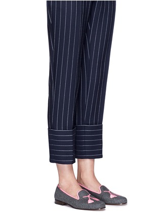 Figure View - Click To Enlarge - Stubbs & Wootton - Tassel embroidery flannel slip-ons