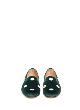 Front View - Click To Enlarge - Stubbs & Wootton - Daisy embroidery velvet slip-ons