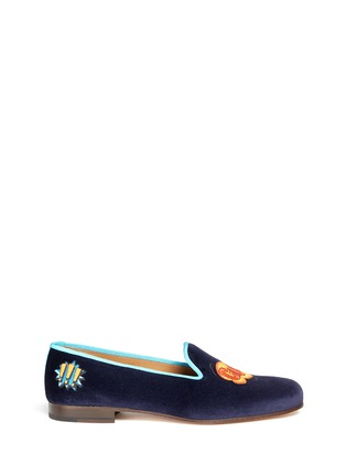 Main View - Click To Enlarge - 71655 - 'Gulp/Ooops' embroidery velvet slip-ons