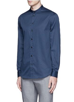 Front View - Click To Enlarge - Armani Collezioni - Triangle print cotton shirt