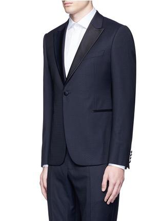 Front View - Click To Enlarge - Armani Collezioni - 'Metropolitan' diamond jacquard wool tuxedo suit