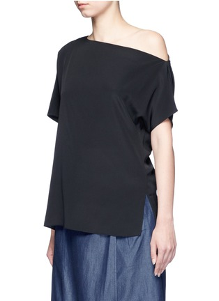 Front View - Click To Enlarge - Tibi - Silk one-shoulder top