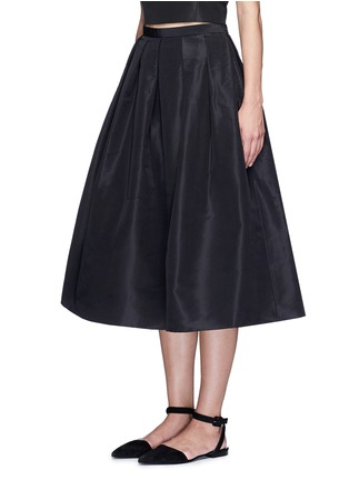 Front View - Click To Enlarge - Tibi - Pleat front silk faille flare midi skirt