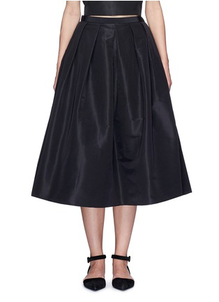 Main View - Click To Enlarge - TIBI - Pleat front silk faille flare midi skirt