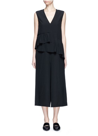 Main View - Click To Enlarge - Tibi - Ruffle waist silk V-neck jumpsuit