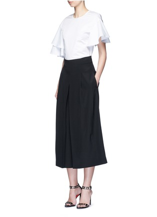 Figure View - Click To Enlarge - Tibi - Inverted pleat silk culottes