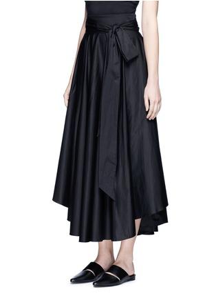 Front View - Click To Enlarge - TIBI - Obi sash pleat poplin skirt