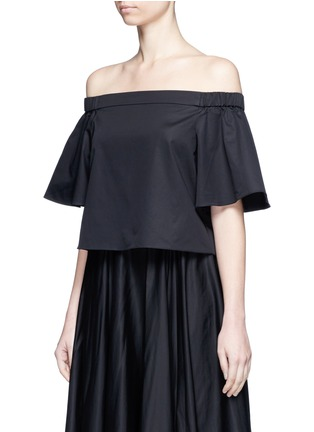 Front View - Click To Enlarge - Tibi - Cotton poplin off-shoulder top