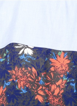 Detail View - Click To Enlarge - Cédric Charlier - Floral print back poplin shirt