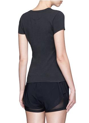 Back View - Click To Enlarge - Calvin Klein Performance - Metallic logo print cotton T-shirt