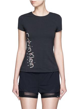Main View - Click To Enlarge - Calvin Klein Performance - Metallic logo print cotton T-shirt