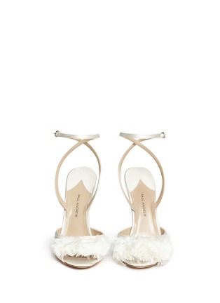 Front View - Click To Enlarge - PAUL ANDREW - 'Piume' feather satin sandals