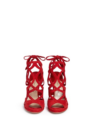 Front View - Click To Enlarge - PAUL ANDREW - 'Ella' cutout suede caged sandals