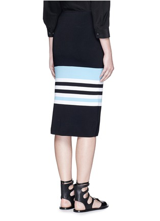 Back View - Click To Enlarge - Nicholas - Side split stripe knit pencil skirt