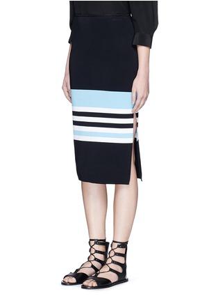 Front View - Click To Enlarge - Nicholas - Side split stripe knit pencil skirt