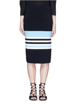Main View - Click To Enlarge - Nicholas - Side split stripe knit pencil skirt
