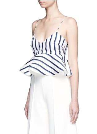 Front View - Click To Enlarge - Nicholas - Dual stripe silk peplum bralette top