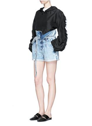Figure View - Click To Enlarge - Tortoise Denim - Paperbag waist denim shorts