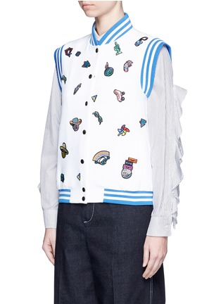 Front View - Click To Enlarge - Mira Mikati - Cartoon icon patch sleeveless bomber jacket