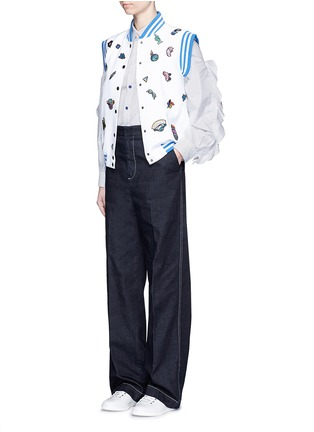 Figure View - Click To Enlarge - Mira Mikati - Cartoon icon patch sleeveless bomber jacket