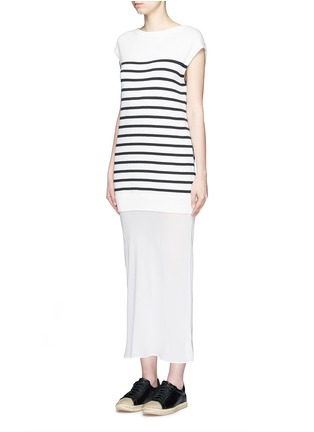 Front View - Click To Enlarge - T By Alexander Wang - Crepe skirt stripe knit combo dress