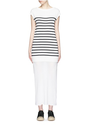 Main View - Click To Enlarge - T By Alexander Wang - Crepe skirt stripe knit combo dress