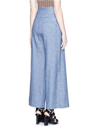 Back View - Click To Enlarge - MSGM - Wrap waist chambray culottes