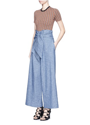 Figure View - Click To Enlarge - MSGM - Wrap waist chambray culottes