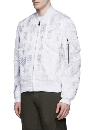 Front View - Click To Enlarge - Marcelo Burlon - 'Alpha Industries' patch embroidery bomber jacket