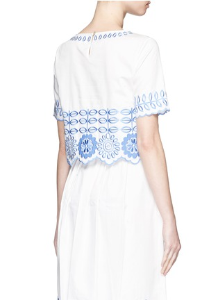 Back View - Click To Enlarge - Temperley London - 'Gilda' floral embroidery poplin cropped top