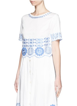 Front View - Click To Enlarge - Temperley London - 'Gilda' floral embroidery poplin cropped top