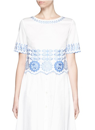 Main View - Click To Enlarge - Temperley London - 'Gilda' floral embroidery poplin cropped top
