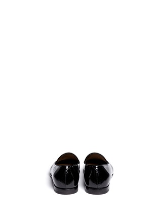 Back View - Click To Enlarge - GIORGIO ARMANI SHOES - Chevron embossed patent leather slip-ons