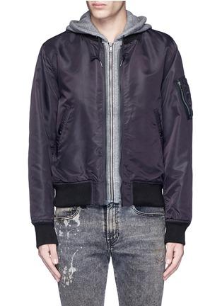 Main View - Click To Enlarge - R13 - Jersey hood nylon zip flight jacket