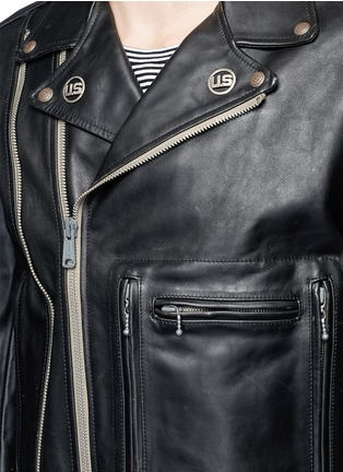 Detail View - Click To Enlarge - R13 - U.S. pin contrast zip calf leather moto jacket