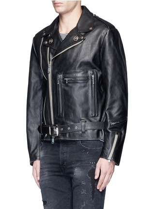Front View - Click To Enlarge - R13 - U.S. pin contrast zip calf leather moto jacket