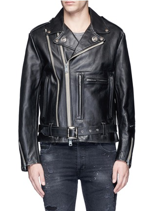 Main View - Click To Enlarge - R13 - U.S. pin contrast zip calf leather moto jacket