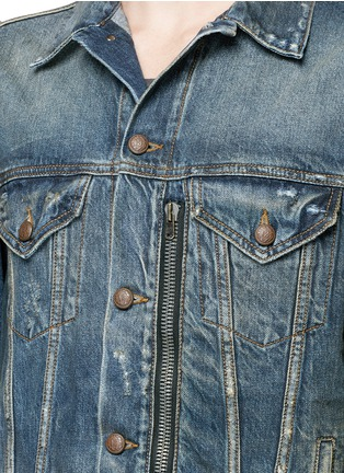 Detail View - Click To Enlarge - R13 - 'Zipper Trucker' distressed denim jacket