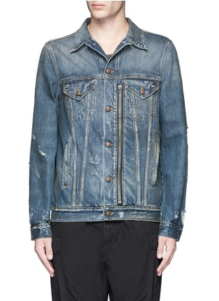 Main View - Click To Enlarge - R13 - 'Zipper Trucker' distressed denim jacket