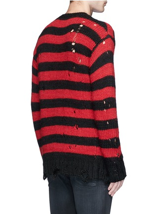 Back View - Click To Enlarge - R13 - Oversize distressed stripe Merino wool blend sweater