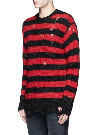 Front View - Click To Enlarge - R13 - Oversize distressed stripe Merino wool blend sweater