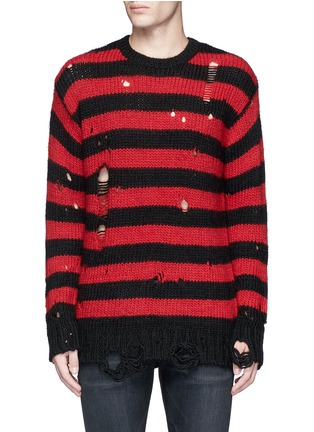 Main View - Click To Enlarge - R13 - Oversize distressed stripe Merino wool blend sweater