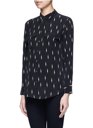 Front View - Click To Enlarge - Equipment - x Kate Moss 'Slim Signature' lightning print silk shirt