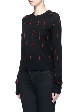 Front View - Click To Enlarge - Equipment - x Kate Moss 'Ryder' lightning print cashmere sweater